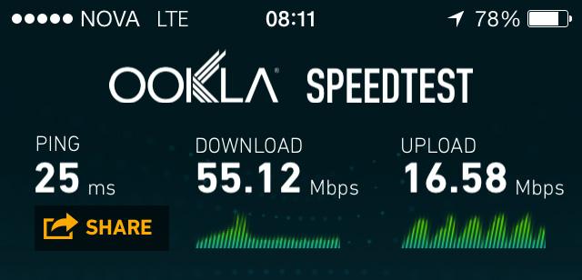 iPhone hraðapróf - Nova 4G/LTE