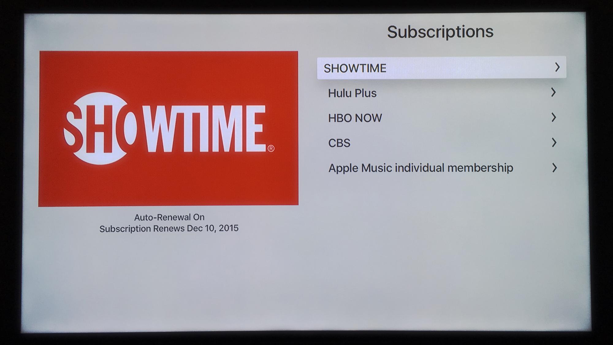 Apple TV - Subscriptions